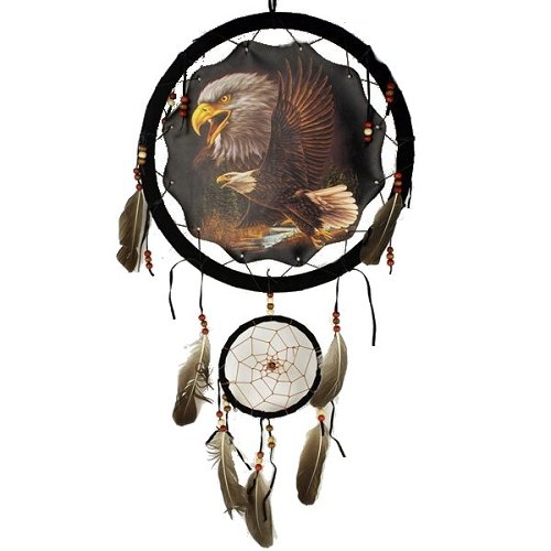 1 X 13in Two Eagles Double Dream Catcher Reproduction
