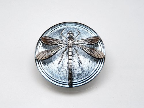 - Hand Made Art Czech Glass Button Cabochon Blue Montana - Silver Dragonfly (without brass eyelet) size 14, 31.5mm 1 pc