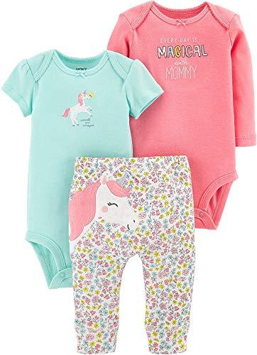 Carter's Baby Girls' 3-Piece Little Character Sets (Pink/Mint Unicorn, 3 Months)