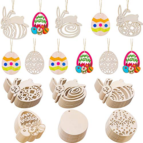 Chuangdi 60 Pieces Easter Wooden Embellishments Egg and