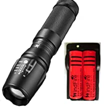 WindFire 2000 Lumens CREE XM-L T6 U2 L2 LED Zoomable 5 Mode Flashlight Torch Light Powered By 18650/26650 Li-ion Battery Rechargeable Torch Flash Light Lamp for Daily Use/ Outdoor Camping, Riding, Climbing (18650 Battery included)