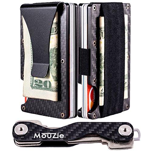 MouZie Carbon Fiber Money Clip + Cash Strap Band Slim Aluminum RFID Blocking Minimalist Premium Front Pocket Credit Card Holder Wallet + Compact Key Organizer Keychain Set Gift For Men Women