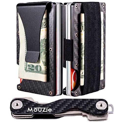 MouZie Carbon Fiber Money Clip + Cash Strap Band Slim Aluminum RFID Blocking Minimalist Premium Front Pocket Credit Card Holder Wallet + Compact Key Organizer Keychain Set Gift For Men Women