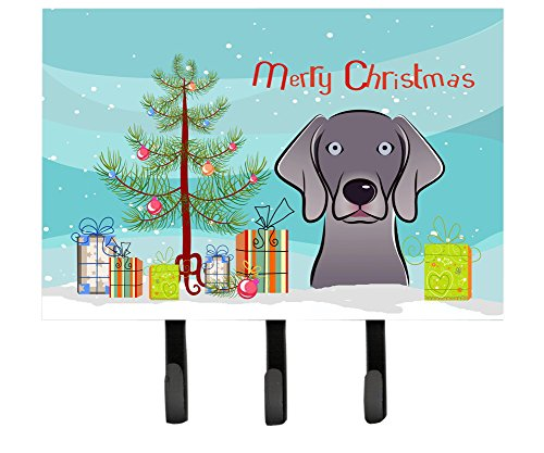 Caroline's Treasures BB1603TH68 Christmas Tree and Weimaraner Leash or Key Holder, Large, Multicolor (Weimaraner Leash Hook)