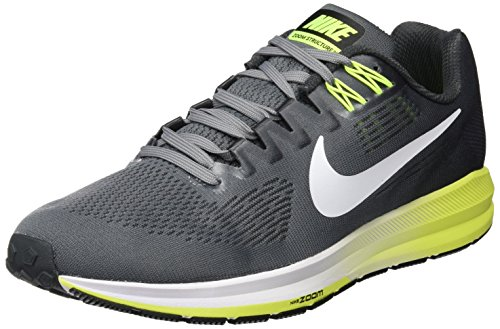 Nike Men's Air Zoom Structure 21 Running Shoe Cool Grey/White-Anthracite-Volt 10.5
