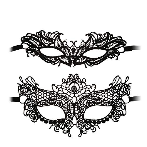Beautyflier 2 Pieces Different Designs Lace Masquerade Mask, Women Lady Girl Lace Eye Sexy Masks for Halloween Party Black (Big Eye & Cute Eye) -