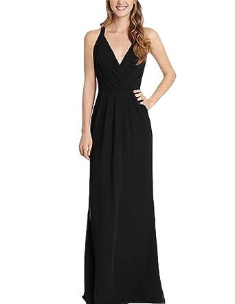 Yilis A-line Chiffon V-neck Evening Gown Wedding Prom Dress Bridesmaid Dress Long
