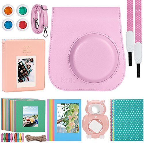 Katia 8 In 1 Instax Mini 9/ 8+ /8 Camera Accessories Bundle For Fujifilm Instant Film Camera (Protective Case/ Photo Album/ Filters/ Selfie Len/ Hanging Frames/ Stickers) and More – Flamingo Pink