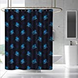 Fakgod Octopus Shower Curtain&Metal Hooks Watercolor Ocean Inhabitants Marine Inspired Illustration Abstract Silhouettes for Master, Kid's, Guest Bathroom W108 x L72 Blue Dark Blue