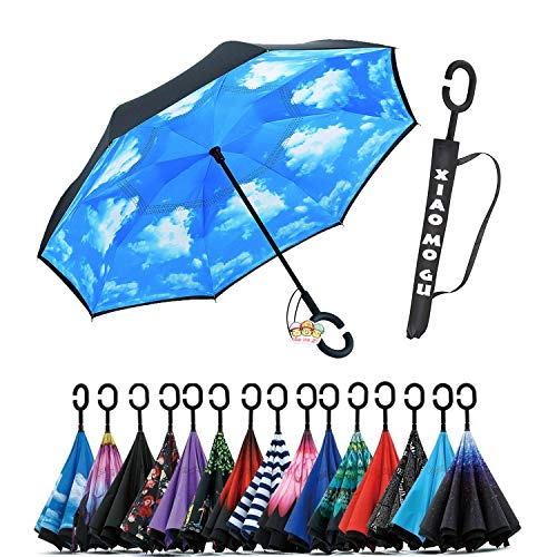 Nylon Windproof Umbrella (XIAOMOGU Creative Double Layer Inverted Umbrella Cars Reverse Umbrella, Windproof UV Protection Inverted Umbrella for Car Rain Outdoor Upside Down Umbrella with C-Shaped Handle)
