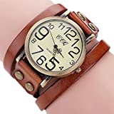 Hunputa Luxury Brand Vintage Cow Leather Bracelet Watch Men Women Wristwatch Ladies Dress Quartz Watch (Coffee)
