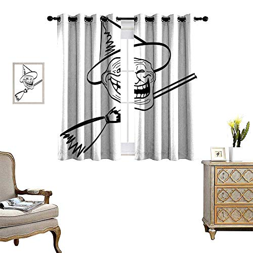 Humor Window Curtain Drape Halloween Spirit Themed Witch Guy Meme LOL Joy Spooky Avatar Artful Image Print Decorative Curtains for Living Room Black and White