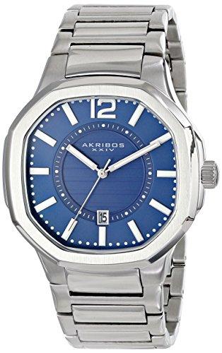 Akribos XXIV Men's AK712BU Quartz Movement Watch with Blue Dial and Stainless Steel Bracelet