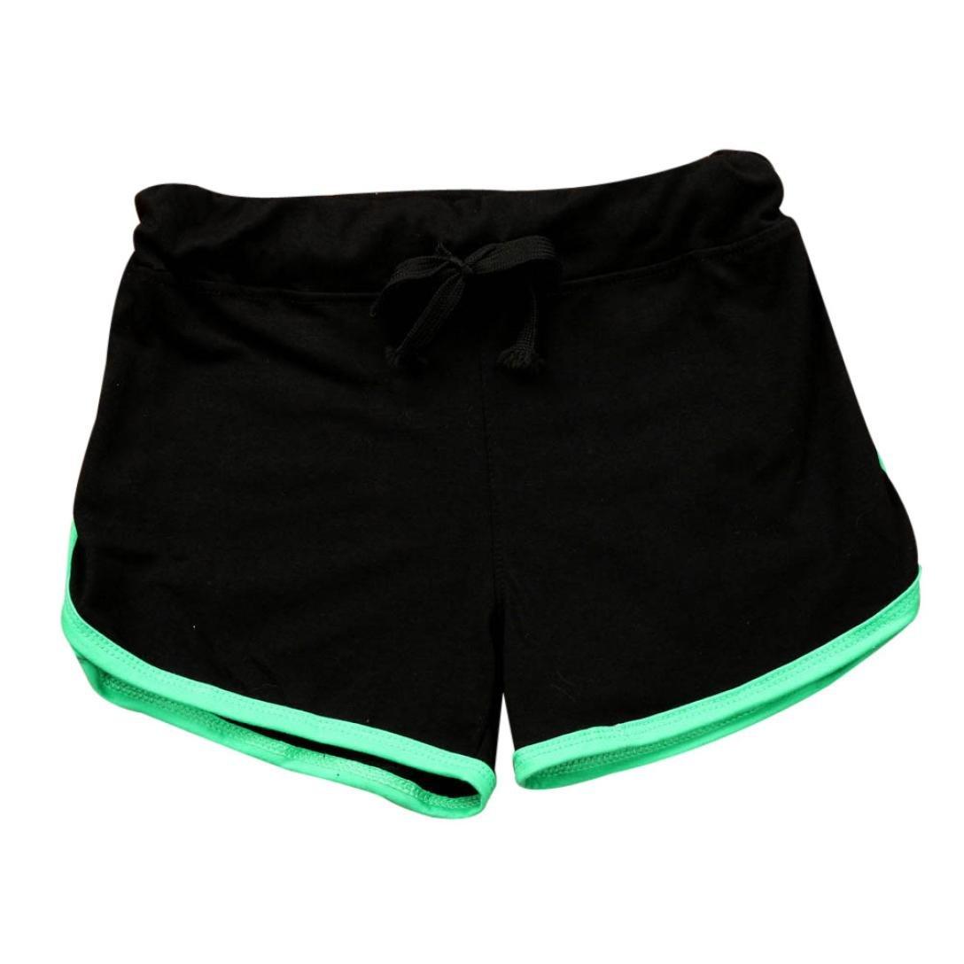 Workout Shorts, Clearance! Women Juniors Comfy Stretch Yoga Sports Shorts Summer Hot Pants (Black, S)