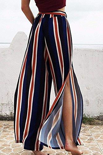 Vintage Tempo High Eleganti Casuale Scuro Peso Battercake Spacco Fashion Blu Leggero Libero Donna Baggy Accogliente Estivi Stripe Sciolto Pantaloni Palazzo Waist Donne TAwfPq0