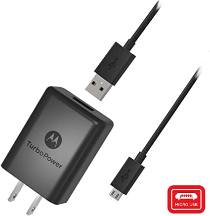 Motorola SPN5970A TurboPower 15+ QC3.0 Wall Charger with SKN6461A Micro USB Cable for Moto G5 Plus, G5S, G5S Plus, E5 Plus, G6 Play [NOT G6 or G6 ...