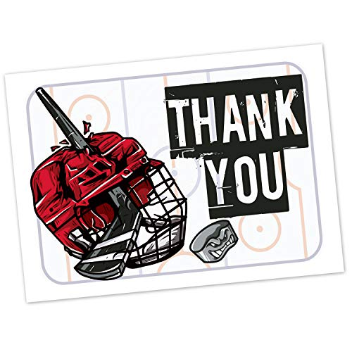 Hockey Kids Birthday Party Fill in The Blank Thank You Cards (20 Count with Envelopes) - Easy Thank You Notes for Boys - Ice Hockey Player - Goalie (Hockey Birthday Card)