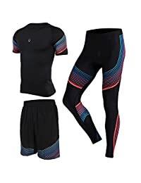 Gym Suit Men's Tights Running Clothes Training Basketball Pants Shirts Ssts 3Pcs
