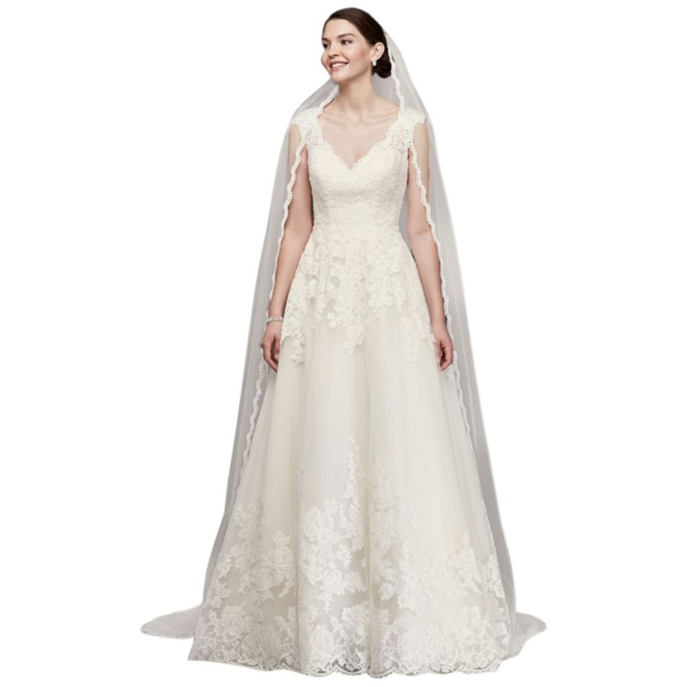Single Tier Cathedral Veil with Lace Edging Style V514, Ivory