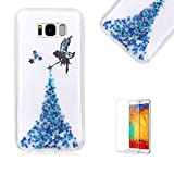 For Samsung Galaxy S8 Plus Case with Free Screen Protector,Funyye Lovely Glitter Sparkly Fairy Angel Girl Pattern Ultra Slim Transparent Soft Gel TPU Rubber Protective Case-Blue