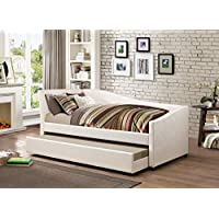 iDealBed Le Vue Modern Upholstered Curved Daybed with Roll-out Trundle, Twin, Ivory