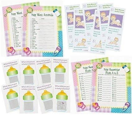 96 pc Baby Shower Game bundle (Word scramble, Baby Necessities, Scratch Tickets, Diaper Raffle Fund tickets) Enough for 24 (Baby Shower Word Scramble Answers)