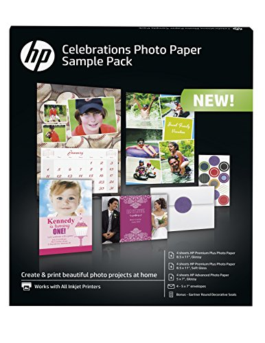 HP Photo Paper Sample Pack - Assortment 5x7, 8.5x11, envelopes