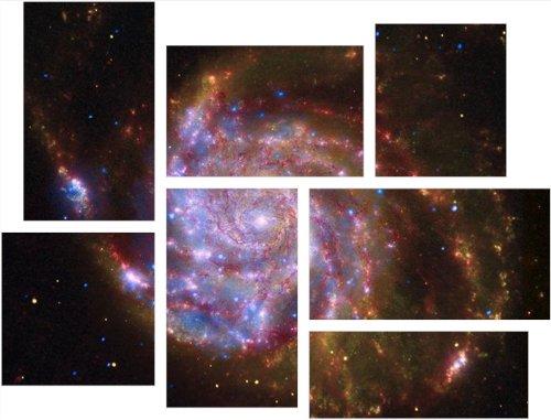 Chandra Art Art (Hubble Images - Spitzer Hubble Chandra - 7 Piece Fabric Peel and Stick Wall Skin Art (50x38 inches))
