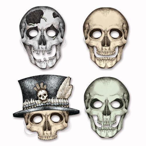 Beistle 01852 Skeleton Masks, 101/2-Inch -