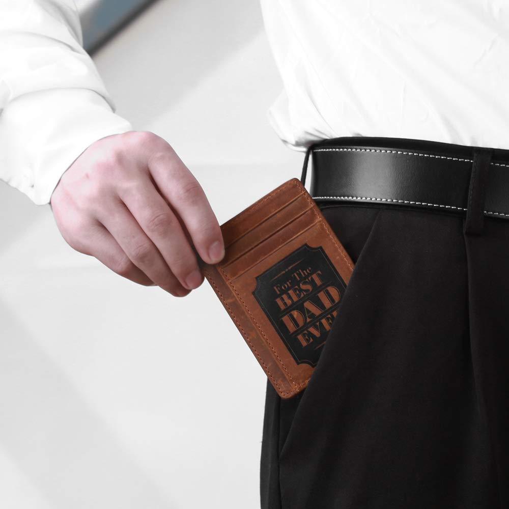Natale Compleanno Festa del Pap/à Porta Carte di Credito Pelle RFID Blocking Idee Regalo pap/à Portafoglio Porta Slim per Uomo Porta Tessere Carte di Credito