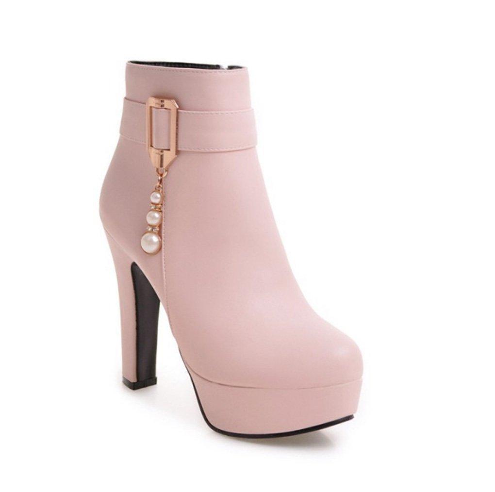 Zrf angenehm Rutschfest Herbst und Winter Martin Stiefel weibliche reizvolle hochhackige Kurze Stiefel widerstandsfähig warm (Farbe   Rosa größe   33)
