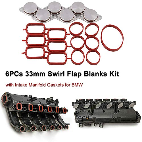 Ruien 6 PCS 33mm Diesel Swirl Flap Blanks Replacement Bungs with Intake Manifold Gaskets with Intake Manifold GASKETS Compatible for BMW M47 E87 E46 E90 E91 E92 E93 E39 E60 M57
