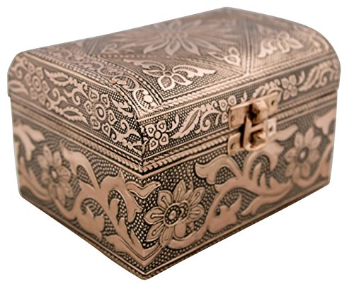 VGI Elegant Jewelry Box with Hammered Metal Cladding and Soft Fabric Interior (Solaris, Copper Finish)