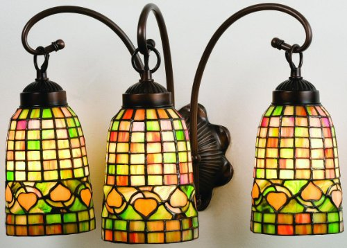 Victorian Lodge Tiffany Acorn 3 Light Vanity Light