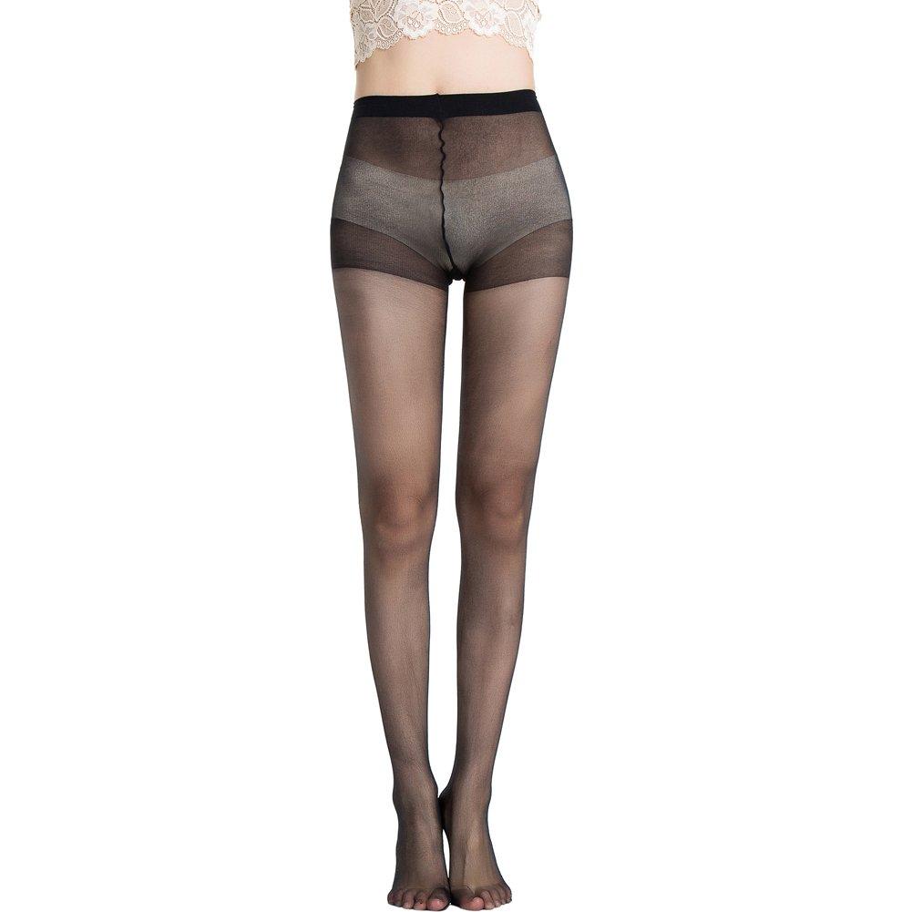 MANZI 6 Pairs Womens High Waist Black Nude 20 Denier Silk Sheer Pantyhose
