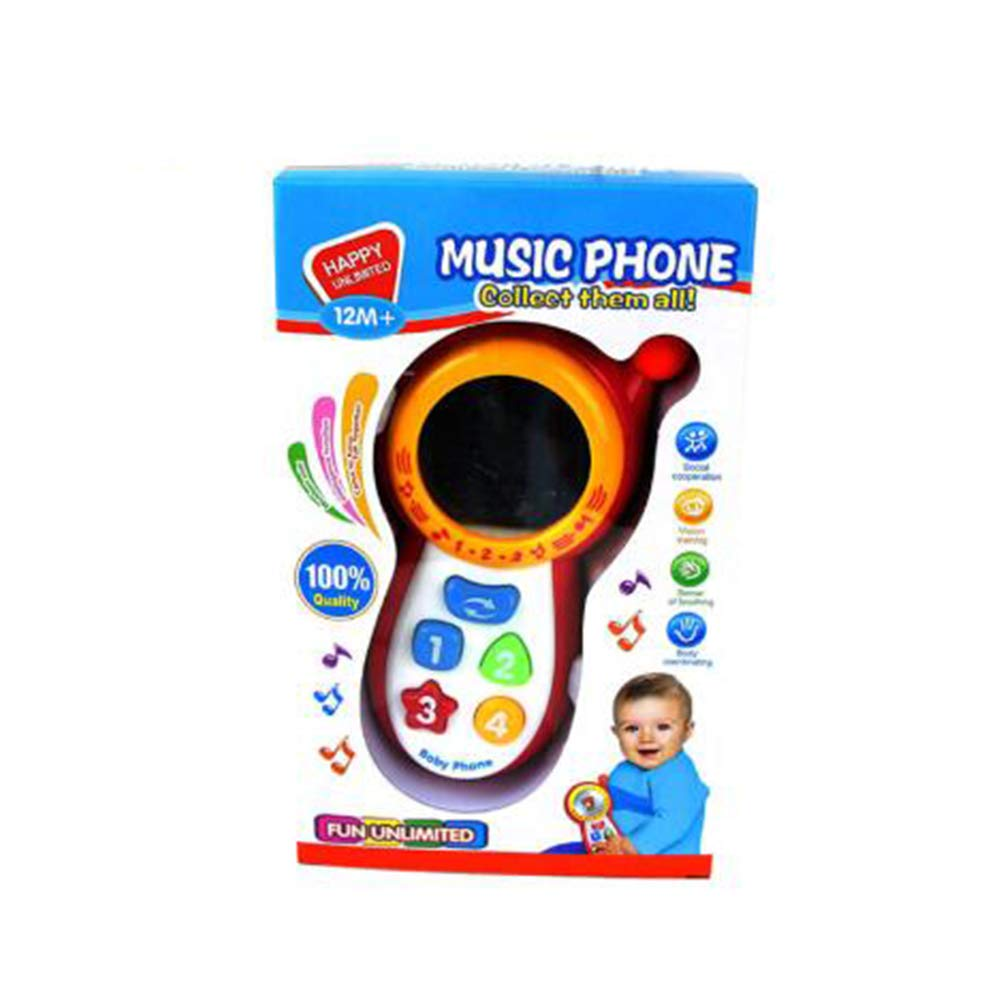 Faironly Baby Musical Sound Phone Toy with Mirror Children Educational Playing Toys red