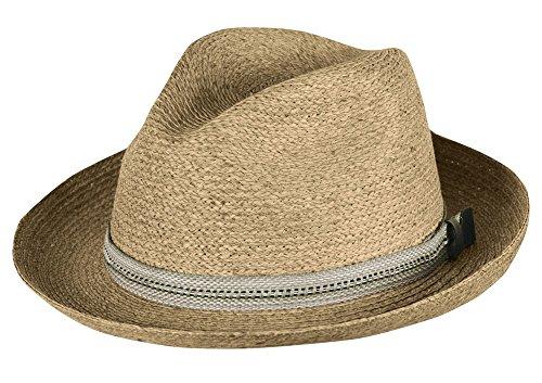 Raffia Apparel - Tilley Unisex R7 Raffia Medium Brim Town Hat Fedora, Large 7 3/8-7 1/2, Tea Stained