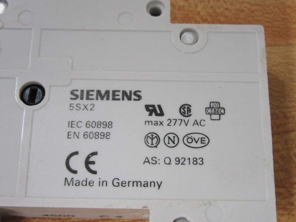 Siemens 5SY61 63 Amp Tipo C Reja de desminado interruptor de un polo