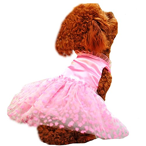 PoodleHouse Pet Wedding Dress Pink Silk Heart-shaped Scalloped Lace Little Dog Dresses with Flower Chihuahua Small
