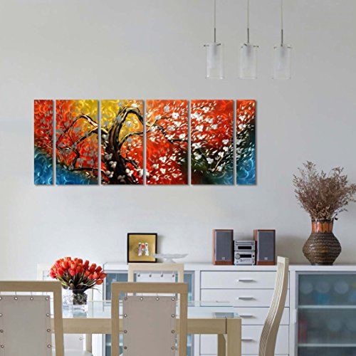 - Metal Wall Art with The Tree of Life, Excellent Floral Design with Bright Colorful Wall Sculpture, 3D Metal Art for Indoor Outdoor Wall Decorations, 6-Panels Measures 24