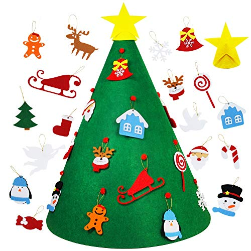 Lulu Home Christmas Tree for Toddlers, 3D DIY Felt Christmas Tree with Hanging Ornaments for Xmas Decorations Party Game and Toddlers Toy