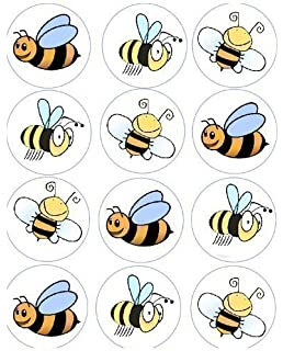 12 Bumble Bee Rice Paper Fairy Cup Cake 40mm Toppers Pre Cut Decoration