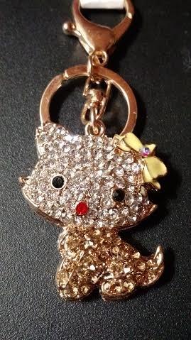 CAT KITTEN Animal RHINESTONE KEY CHAIN w/ CLASP - GOLD Topaz * Fashionable Purse Charm Jewelry * PERFECT GIFT FOR BIRTHDAYS, CHRISTMAS , (Topaz Purse)