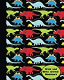 Draw and Write Journal Dinosaurs: Lined Paper + Half Page Drawing Space for Boys, Cool Cover with Dinosaur Types