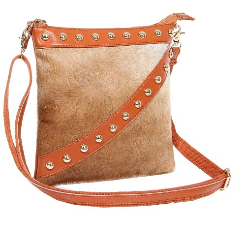 Fineplus Women's New Horsehair Studded Leather Cross Body Bag Brown