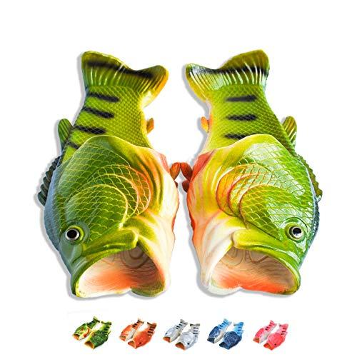 Coddies Fish Flip Flops | Unisex Slippers, Sandals, Bass Slides, Pool, Beach & Shower Shoes | Men, Women & Kids (9/10 US Men (42/43 EU), Green)