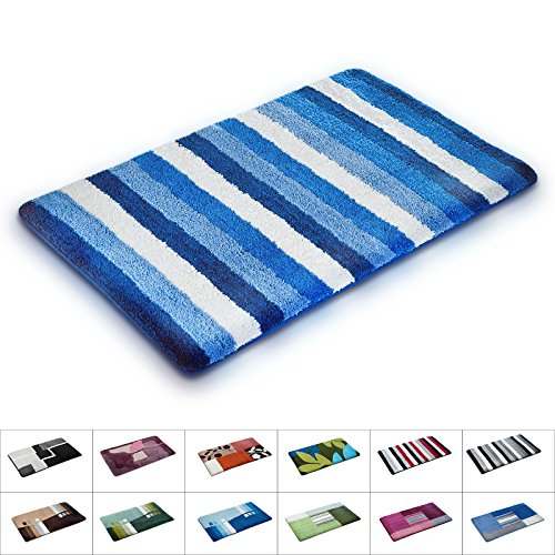 casa pura Bathroom Rugs | Non Slip Bath Mat & Shower Mat | Machine Washable | Multiple Color and Size Options | Blue Nautical Stripes | 24