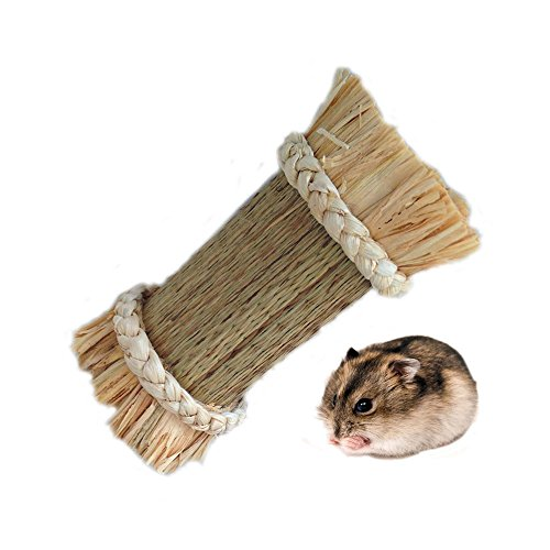 Hamiledyi Grass Tunnel,hamster toys Hideaway for Guinea Pig, Guinea Pig,Natural Small Animals Chew (Natural Tunnel)