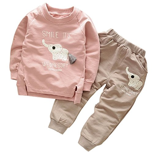 Ancia 2017 Baby Boys Kids 2 Pieces Clothes Set T-Shirt Pants Outfits(Elephant Pink,2-3 Years)