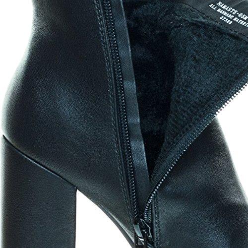 Embossed & Embroidery Block Heel Enkellaarsje Met Faux Fur Voering 03 Zwart Pu